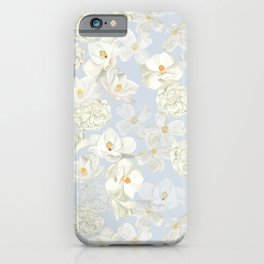 White Floral on Pale Blue iPhone Case
