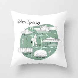 Palm Springs Map - Green Throw Pillow