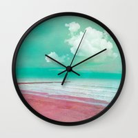 silent Wall Clocks featuring SILENT BEACH by INA FineArt
