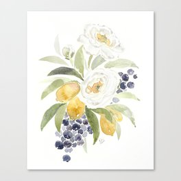 Watercolor Flowers with Blueberries Canvas Print