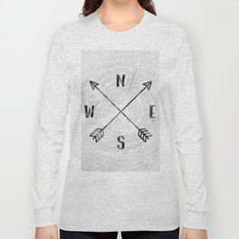 Black and White Wood Grain Compass Long Sleeve T-shirt