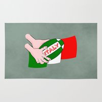 italy Area & Throw Rugs featuring Rugby Italy by mailboxdisco