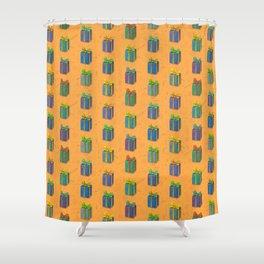 Presents pattern orange Shower Curtain