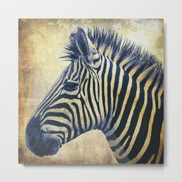 Zebra Portrait Pop Art Metal Print