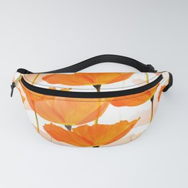 Orange Poppies On A White Background #decor #society6 #buyart Fanny Pack
