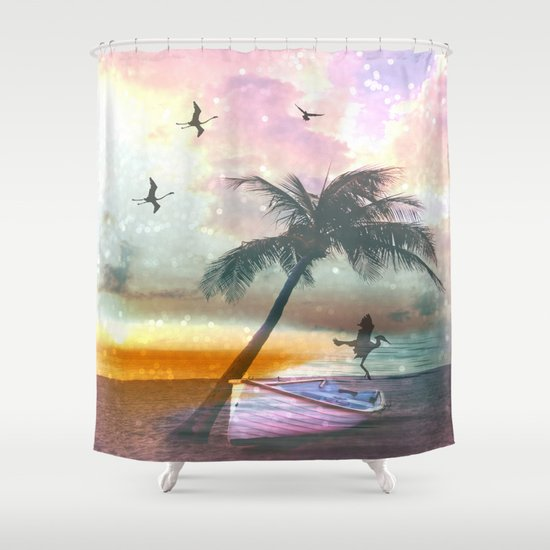Exotic Beach Shower Curtain By Haroulita