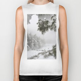 """""""Snowy forest"""". At the foggy mountains... Biker Tank"""