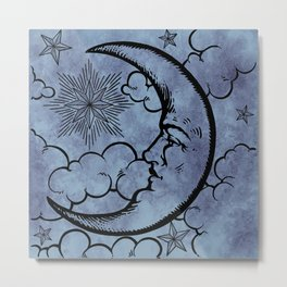 Moon vintage blue grey Metal Print