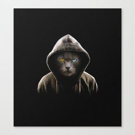 Cool Black Cat Hooded Pullover Canvas Print