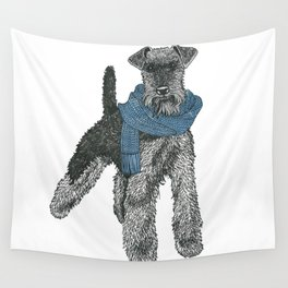 Welsh Terrier, Blue Wall Tapestry