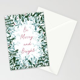 Be Merry and Bright - mistletoe design Stationery Cards