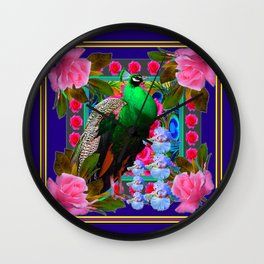 INDIGO & PINK-RED  ROSES GREEN PEACOCK IRIS FLORAL Wall Clock