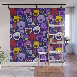 Pansy Flowers Spring Illustration Wall Mural