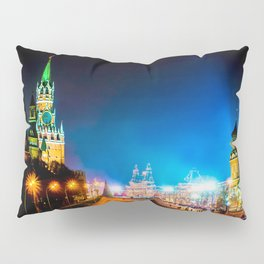 Moscow Kremlin And Red Square At Winter Night Pillow Sham
