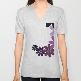Creative Vector Illustration from Random Colorful Flowers Unisex V-Neck