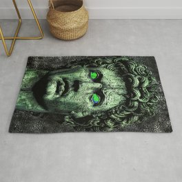 Angry Caesar Augustus Photo Manipulation Portrait Rug