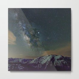 Watercolor Nightscape Milky Way Ute Trail, Rocky Mountain National Park, CO Metal Print