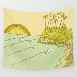 california surf view swamis // retro surf art by surfy birdy Wall Tapestry