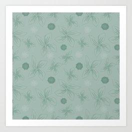 Mint grey green tropical flower print Art Print
