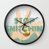 """coasters Wall Clocks featuring """"Stop Golden Snitchin'"""" Print Green & Silver 1/2 by M.l. Gaynor"""
