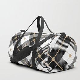Black & White Lumberjack Pattern Duffle Bag