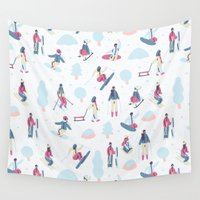 skiing Wall Tapestries featuring Skiing on the mountain by Sara Maese