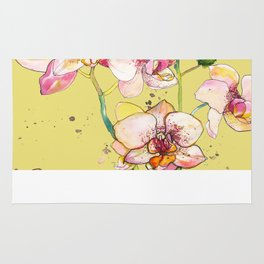 Pink Orchids in Yellow Rug