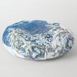 Powder Forest // Through the Trees Blue Snow Cap Mountain Backdrop Floor Pillow