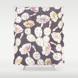 Modern white gold mauve lavender catus floral Shower Curtain