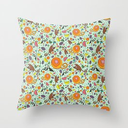 Cute Monkeys and Fruit Throw Pillow