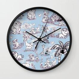 Coloring-in Line-Drawing Art for Wallpaper Repeat Wall Clock