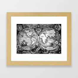 Release the Kraken in Black and White Framed Art Print