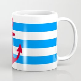 Red Anchor on Navy Blue Stripes Coffee Mug
