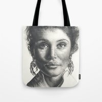 gemma Tote Bags featuring Gemma  by Lucy Schmidt Art
