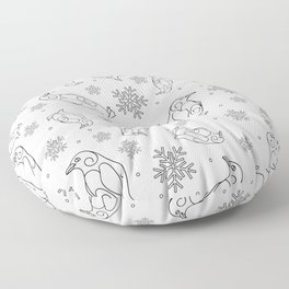 Winter background with penguins Floor Pillow