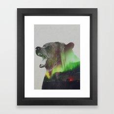 Bear In The Aurora Borealis Framed Art Print