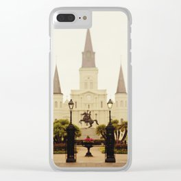 New Orleans Looking Through Jackson Square Clear iPhone Case
