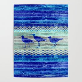 Rustic Navy Blue Coastal Decor Sandpipers Poster