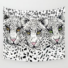 THREE SNOW LEOPARDS Wall Tapestry