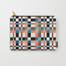 Blue white orange geometric pattern . Carry-All Pouch
