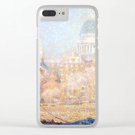 Henri le Sidaner - St. Paul's from the River- Morning Sun in Winter Clear iPhone Case