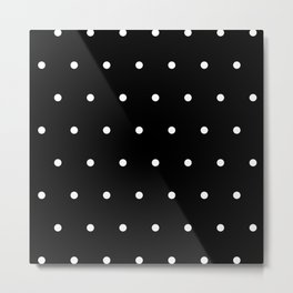 Black Background With White Polka Dots Pattern Metal Print