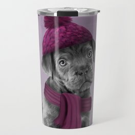 Drawing Puppy Cane Corso in hat and scarf Travel Mug