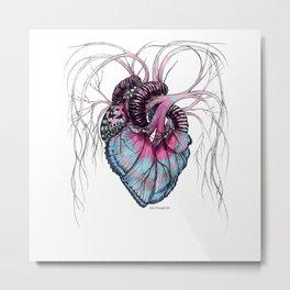 Butterfly Heart Blue Metal Print