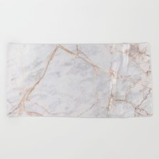 White Italian Marble & Gold Beach Towel