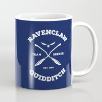 quidditch Mugs featuring Ravenclaw Quidditch Team Seeker: Blue by Sharayah Mitchell
