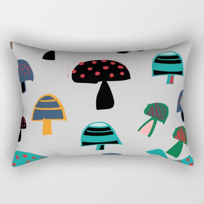 Cute Mushroom gray Rectangular Pillow