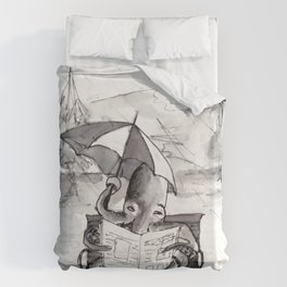 an octopus that walks on land part1 reading a newspaper in the rain Duvet Cover
