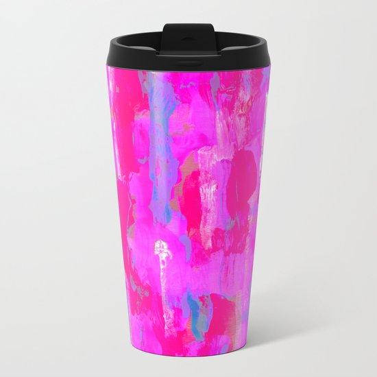 Vibrant Pink Metal Travel Mug