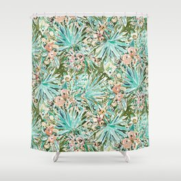 FAN OUT Tropical Palmetto Floral Shower Curtain